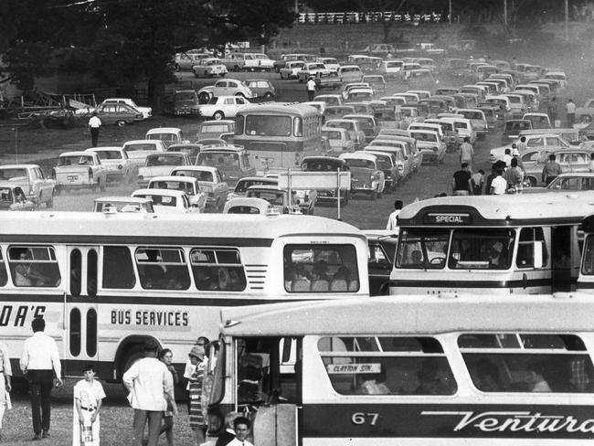 Cars and buses battle to escape Waverley traffic jams.