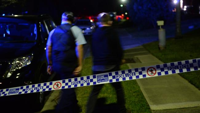 Police at the scene of a shooting this evening in Meridian Place, Doonside. Picture: Jeremy Piper