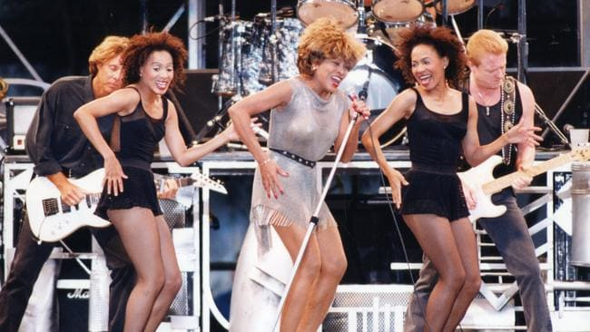 Tina Turner performing at the Australian Grand Prix concert in Adelaide in 1993.