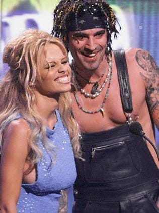 Pamela Anderson with then husband Tommy Lee in 1999. Picture: Supplied
