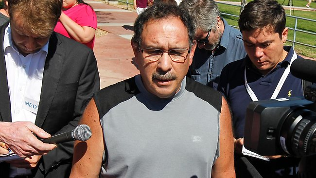 """David Sanchez, whose son-in-law was critically wounded and pregnant daughter was unhurt, speaks after a court appearance by shooting suspect James Holmes at the Arapahoe County Courthouse. """"It makes you angry,"""" he told reporters. AP Photo/Alex Brandon"""