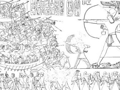 A line drawing of Ramses III's triumphant depiction of his victory over the Sea People invasion. Picture: Wikimedia