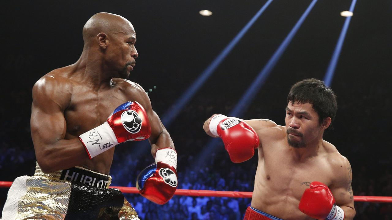 Floyd Mayweather Jr against Manny Pacquiao in 2015.