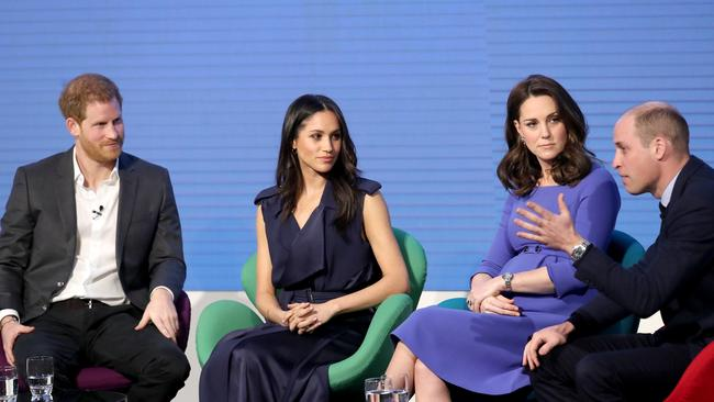 The Fab Four on stage together at what was supposed to be the annual Royal Foundation Forum in 2018. It hasn't been held since Picture: Getty Images