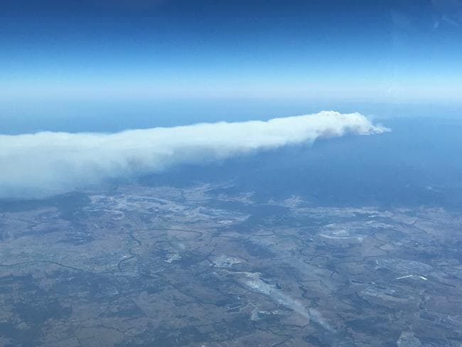 The smoke plume from the Singleton fire is striking from the air. Picture: RFS