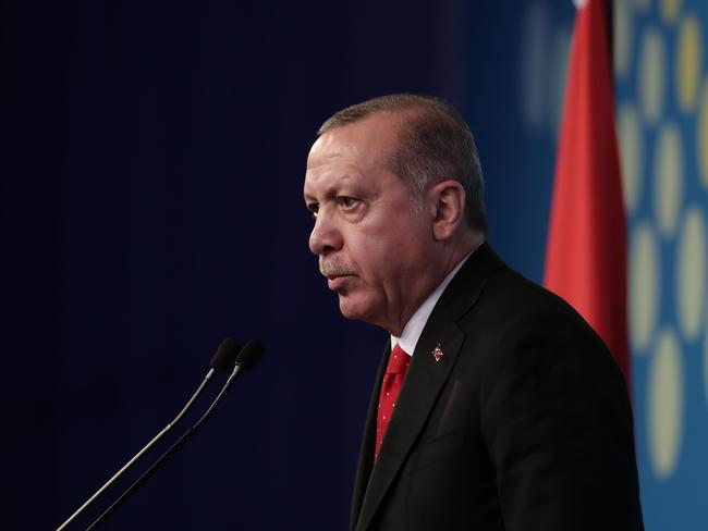 Turkey's President Recep Tayyip Erdogan delivers a press conference on the second day of the G20 Leader's Summit, in Buenos Aires, on December 1. Picture: AFP