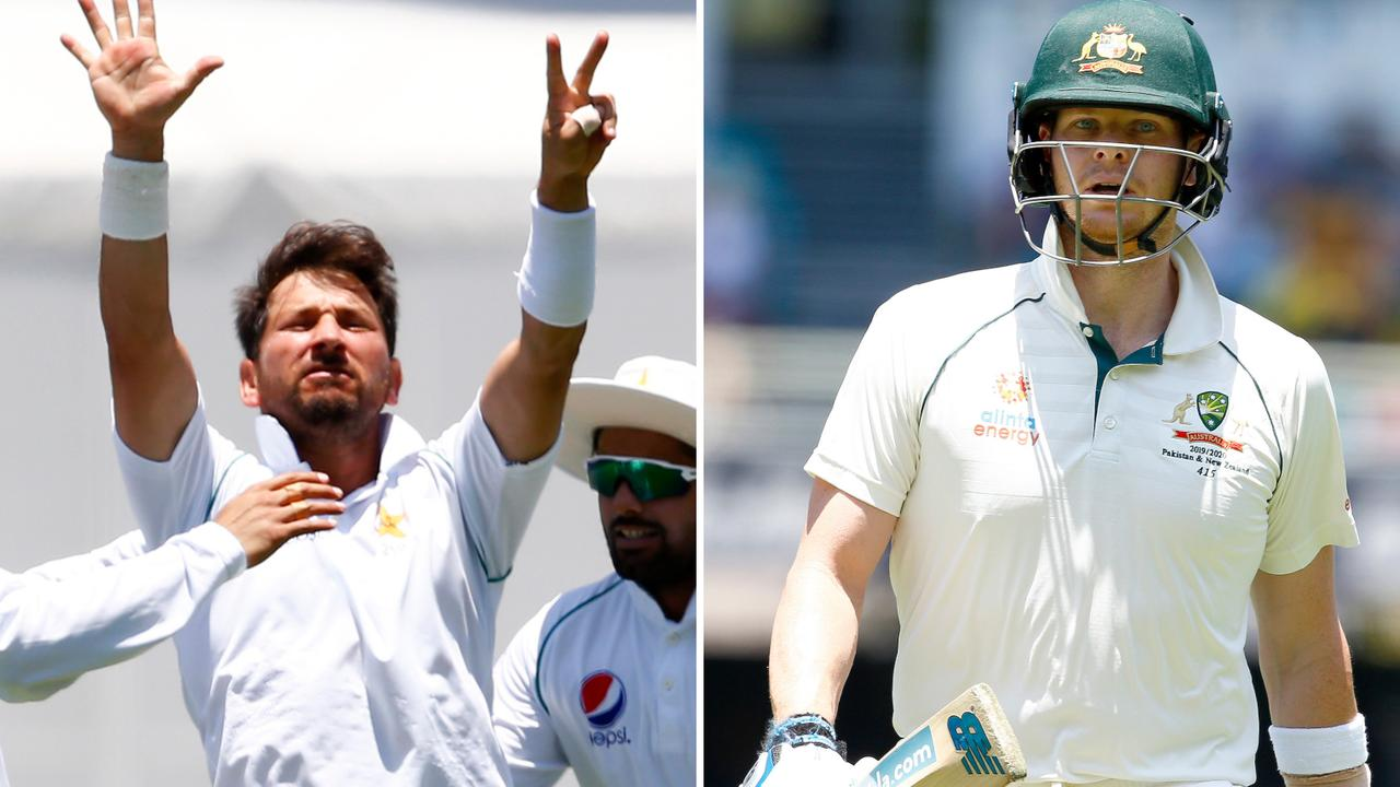 Yasir Shah celebrates getting Steve Smith out for a seventh time in Test cricket.