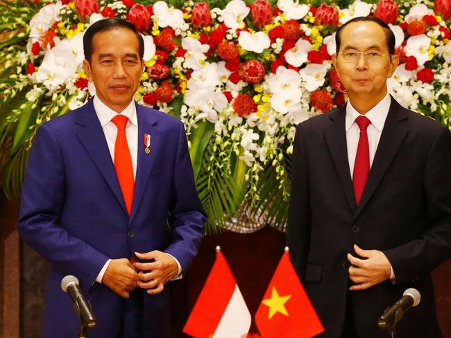 Indonesian President Joko Widodo and Vietnamese counterpart Tran Dai Quang at the World Economic Forum on ASEAN in September. Picture: AFP