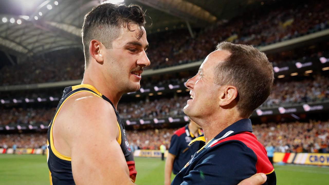 Taylor Walker and Don Pyke were the captain and coach for the 2017 Grand Finalist Crows. Now Tex is gone as skipper, and Pyke is gone entirely. (Photo by Adam Trafford/AFL Media/Getty Images)
