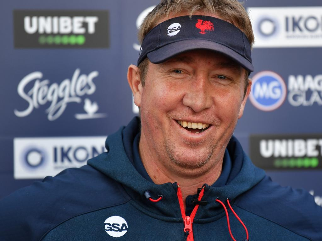 Sydney Roosters coach Trent Robinson speaks to the media during a press conference at Roosters Headquarters in Sydney, Friday, August 23, 2019. Trent Robinson says understudy Adam O'Brien wants to take the top job at Newcastle and believes he's good enough for the role. (AAP Image/Dean Lewins) NO ARCHIVING