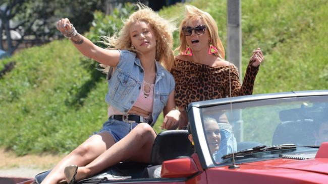 Video Queens ... Azalea and Britney Spears were having a ball on set of their music video for upcoming single Pretty Girls. Picture: Light Brigade/Bauer-Griffin/GC Images.