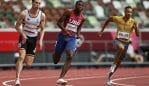 Tokyo , Japan - 3 August 2021; Erriyon Knighton of the United States, centre, in action during the men's 200 metre heats at the Olympic Stadium during the 2020 Tokyo Summer Olympic Games in Tokyo, Japan. (Photo By Ramsey Cardy/Sportsfile via Getty Images)