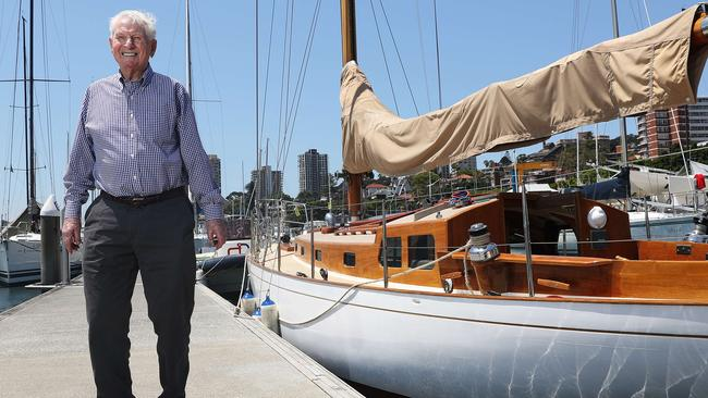 Syd Fischer, with the first yacht he sailed to Hobart back in the 60s, at the launch of the new book, Ragamuffin Man.