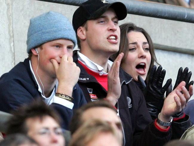 Prince William, centre, his then-girlfriend Kate Middleton and brother Prince Harry watch an England versus Italy Six Nations rugby match in 2007. Picture: AP