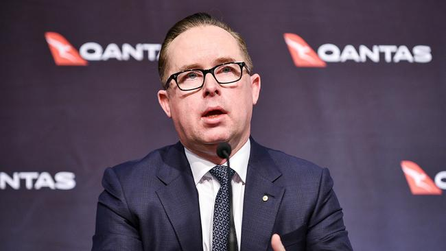 Qantas CEO Alan Joyce at the Qantas said people won't be able to fly Qantas internationally unless they're vaccinated against COVID-19. Picture: NCA NewsWire/Flavio Brancaleone