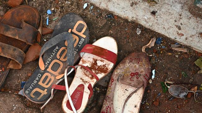 Shoes and belongings of victims are collected as evidence at St Sebastian's Church in Negombo. Picture: AFP
