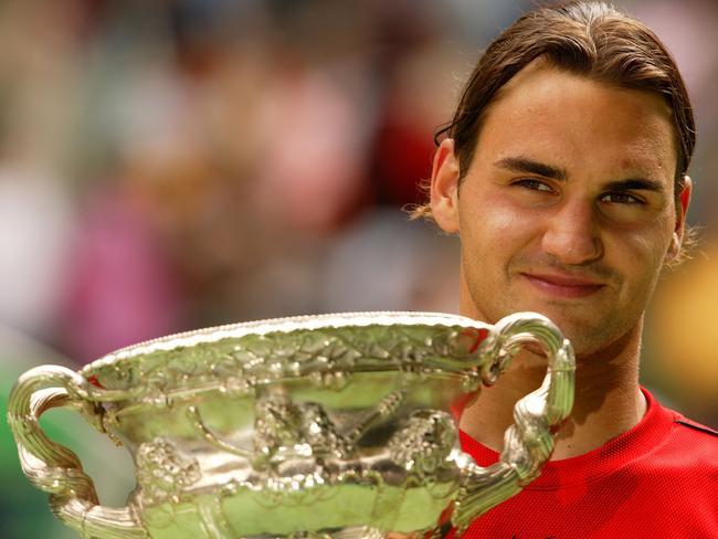Roger Federer after winning the 2004 Australian Open.