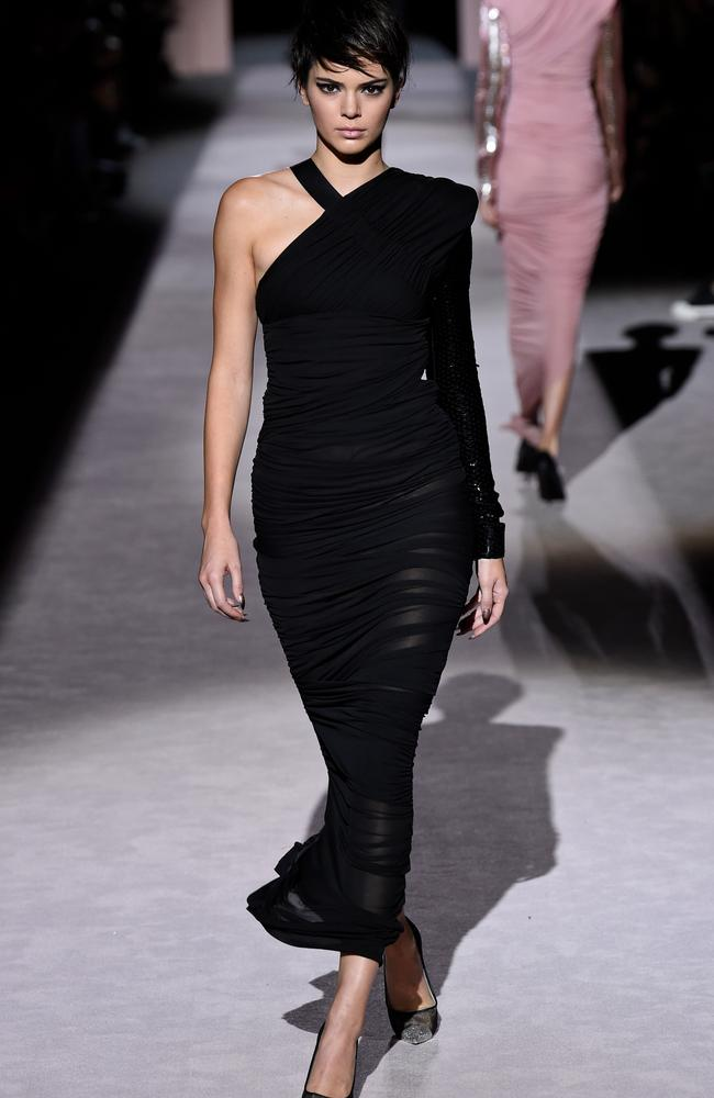 Kendall Jenner debuted a pixie cut on the runway at Tom Ford. Picture: Splash