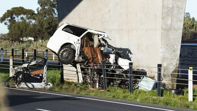 The scene of a fatal crash into a road overpass pylon. Picture: AAP/Mark Brake
