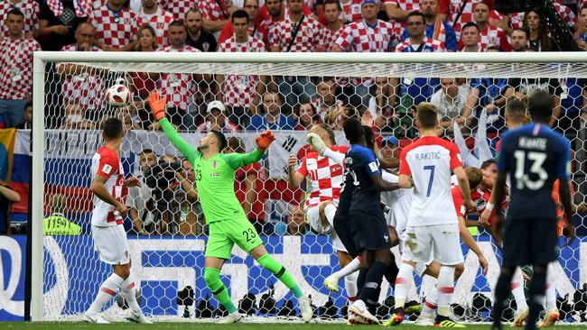 Mario Mandzukic of Croatia scores an own goal to put France in front 1-0 during the 2018 FIFA World Cup Final. Picture: Shaun Botterill/Getty Images
