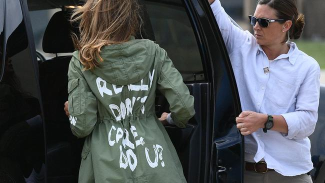 US First Lady Melania Trump's Zara coat made quite a stir. Picture: Mandel Ngan/AFP