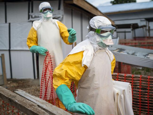 Health workers wearing protective suits at a treatment centre in Beni, Congo. Picture: AP Photo/Jerome Delay