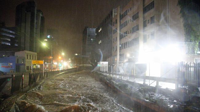 A storm left devastation in its wake as it swept through Hobart, flooding the CBD while the city slept. Picture: PATRICK GEE