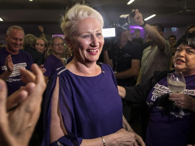Kerryn Phelps celebrates her win in Wentworth by-election. Picture: AAP Image/Chris Pavlich