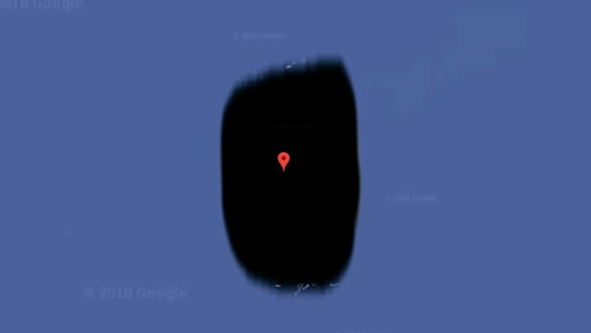 Jeannette Island off the coast of Russia is completely blacked out on Google Maps.