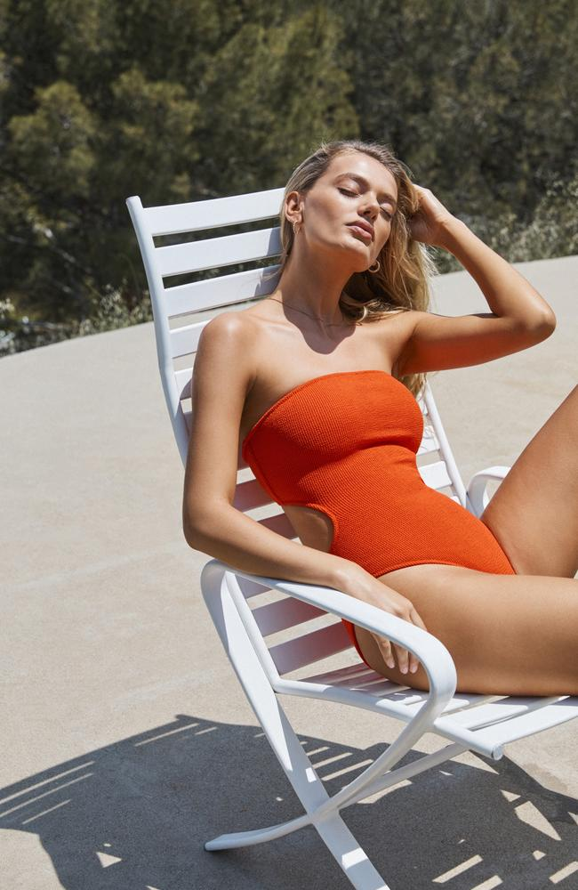 This orange crush hue is dubbed 'fire' from Bec and Bridge new swim campaign. Picture: Pierre Toussaint