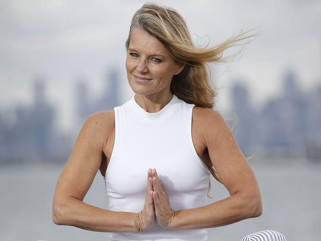 Simone Callahan has revealed that yoga help her 'let go' of the pain of her divorce with Shane Warne. Picture: David Caird