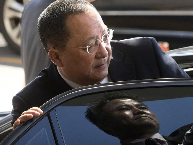 North Korean Foreign Minister Ri Yong Ho flew to New York for the UN General Assembly. Picture: Mark Schiefelbein/AP