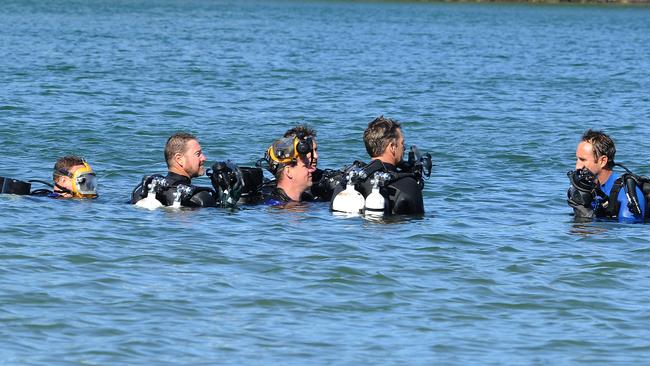 Police divers were still looking for clues yesterday. Picture: AAP image, John Gass