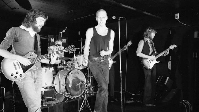 On the road ... Hirst hit the road after high school with his band Farm which became Midnight Oil. Picture: Supplied.