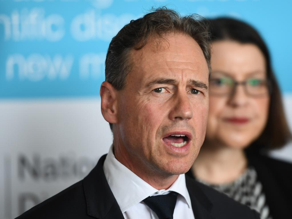 Federal Health Minister Greg Hunt, in Melbourne with Victorian Health Minister Jenny Mikakos, said a Europe-wide travel ban is under consideration. Picture: AAP
