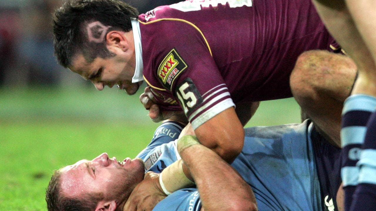 25/05/2005 SPORT: SPORT. BCM. 25/5/05. Luke Bailey of NSW fights with Carl Webb of QLD during State of Origin Qld and NSW Game One at Suncorp Stadium. PicDarrenEngland