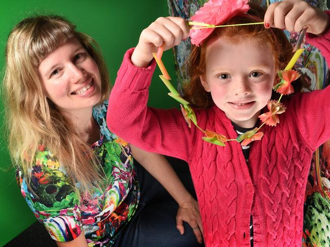 Pasta necklaces: One of childhood's greatest joys. Young Mary Jane Hudson is pictured getting crafty at the National Gallery of Victoria Kids' Festival, where the staple food is still considered an acceptable craft material. Picture: Tony Gough