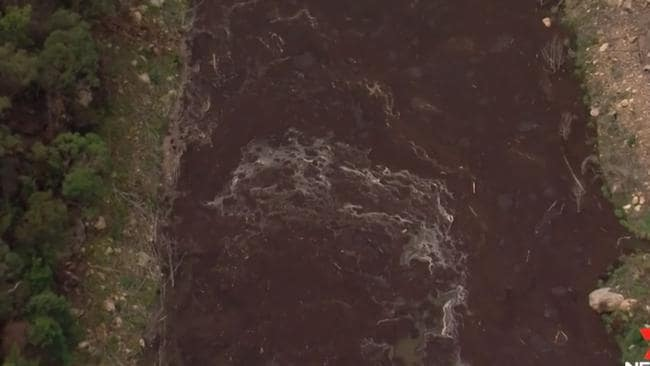 Run-off and ash in the catchment. Picture: 7 News