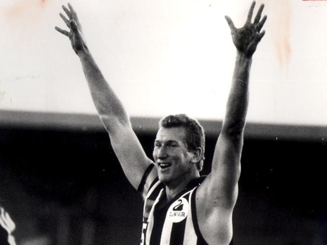 Garry Sidebottom celebrates a goal.