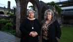 5/6/18: Rozanna Lilley (glasses) and Kate Lilley at the Paddington Reservoir Gardens. They are the middle-aged daughters of the late playwright Dorothy Hewett, who claim that their famous mother failed to protect them from sexual predators on the arts scene, when they were adolescents/ young teenagers. John Feder/The Australian.