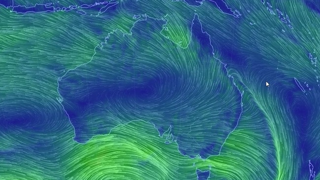 A wind map showing gusts of up to 100km/h heading towards four states on Tuesday and Wednesday. Picture: Earthschool