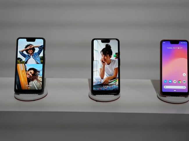 The Google Pixel 3 phone is on display during the official launch of the new Google Pixel 3 and 3 XL phone at a press conference in New York. Picture: AFP