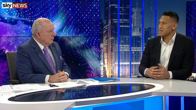 Alan Jones interviews Israel Folau on the Jones & Co show on Sky News.