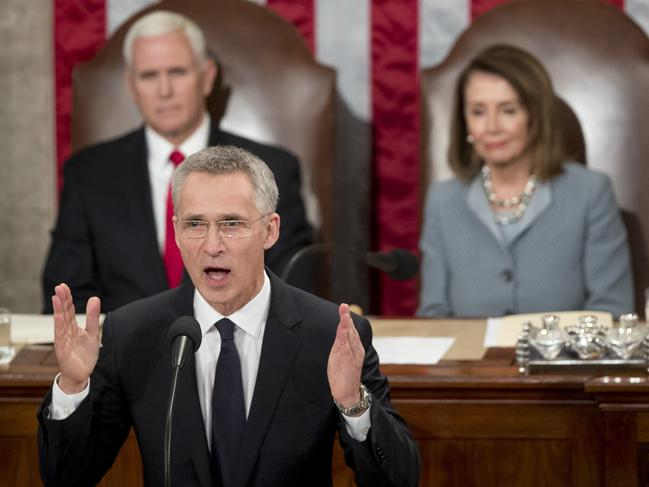 It's the first time a NATO chief has spoken at the US Congress in the alliance's 70-year history.
