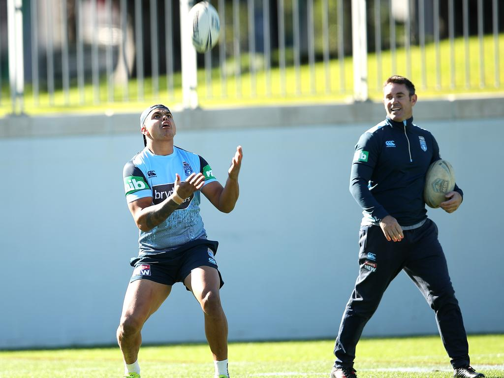 Latrell Mitchell with coach Brad Fittler during a NSW State of Origin team training.