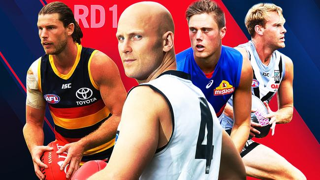 Adelaide's Bryce Gibbs, Geelong's Gary Ablett, Western Bulldogs' Josh Schache and Port Adelaide's Jack Watts.