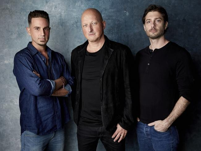 Wade Robson, director Dan Reed and James Safechuck are behind the Leaving Neverland documentary. Picture: Taylor Jewell/Invision
