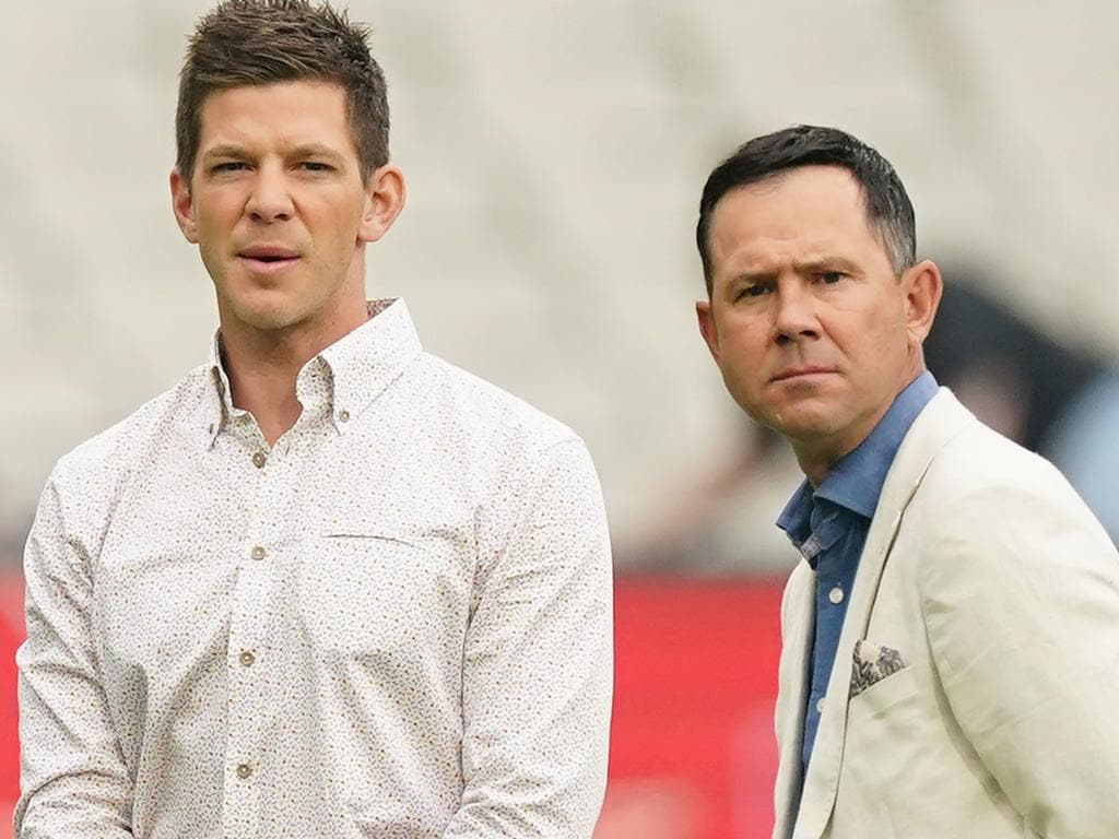 Tim Paine and Ricky Ponting look on during the Big Bash League (BBL) Challenger Final cricket match between the Melbourne Stars and the Sydney Thunder at the MCG in Melbourne, Thursday, February 6, 2020. (AAP Image/Scott Barbour) NO ARCHIVING, EDITORIAL USE ONLY, IMAGES TO BE USED FOR NEWS REPORTING PURPOSES ONLY, NO COMMERCIAL USE WHATSOEVER, NO USE IN BOOKS WITHOUT PRIOR WRITTEN CONSENT FROM AAP