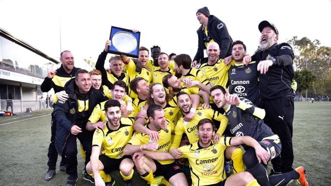 Heidelberg United players celebrate their 2017 NPL league win. Picture: Natasha Morello.