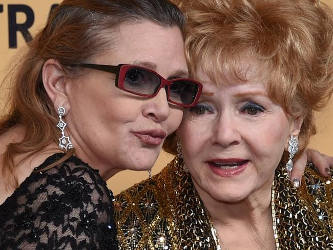 Carrie Fisher with her mother Debbie Reynolds, who also died in December. Picture: AFP/Getty/Ethan Miller